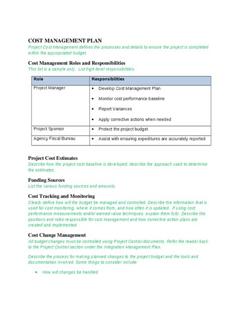 cost plan cost management plan template hatch urbanskript co