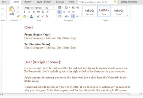 formal business letter template word powerpoint