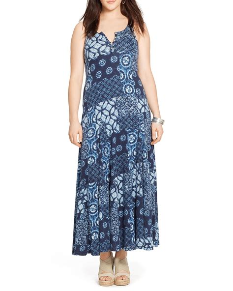 Patchwork Maxi Dress - ralph plus patchwork print maxi dress in