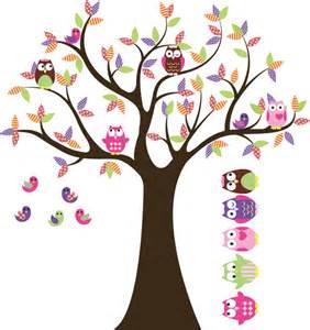 Nursery Wall Stickers Tree kids baum mit 4 eulen 7 v 246 gel und satz von 4 free eulen