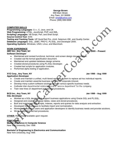 oracle pl sql developer resume format pl sql developer sle resume 3
