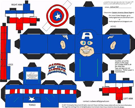Marvel Papercraft - marvel 1 captain america cubee by theflyingdachshund on