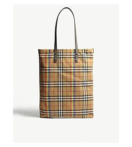 Check Shopper Bag burberry rainbow check large shopper selfridges