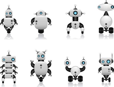 vector robot tutorial free cute intelligent robot vector design materials 02