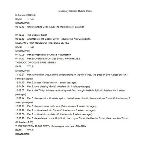 sermon outline template 8 free word excel pdf format