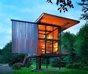 Pre Built Small Homes - sol duc cabin 350 square feet prefab shelter resting on steel stilts homecrux