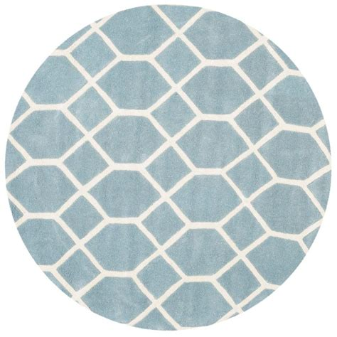 Safavieh Chatham Blue Ivory 5 Ft X 5 Ft Round Area Rug 5 Foot Area Rugs