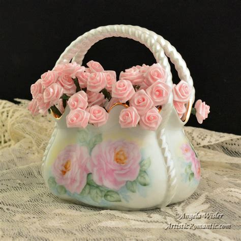 antique porcelain l with roses french script shabby aqua easter egg hand painted cottage