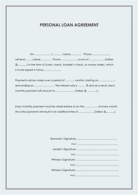 personal loan repayment agreement loan document personal