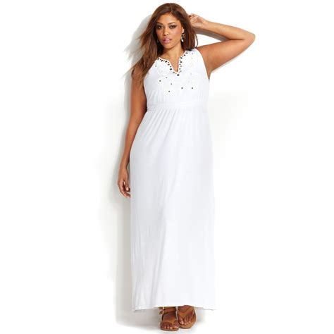 white maxi dress plus size lyst inc international concepts plus size embroidered