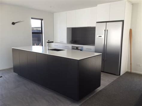 Black Island Kitchen Acrylic Benchtops Photo Galleries Kiwi Kitchens