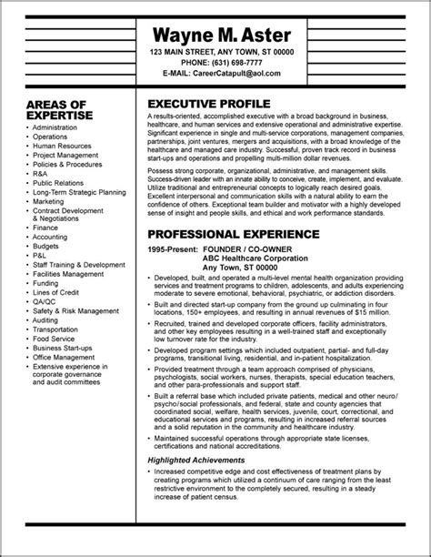 Resume Exles For Healthcare Executives sle resume healthcare executive