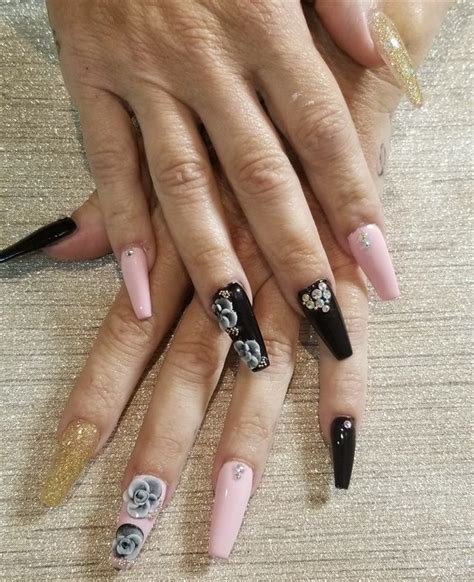 day  glitter ombre    flower nail art flower