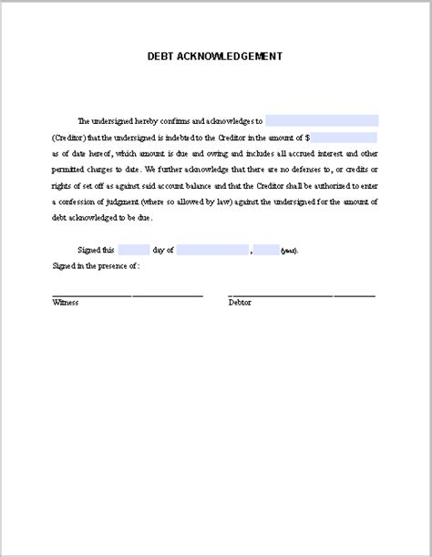 debt acknowledgement letter free fillable pdf forms