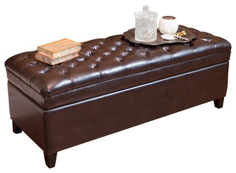 ottoman barton barton tufted brown leather storage ottoman transitional