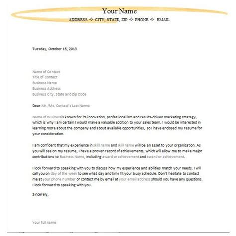 Letter Of Application: Letter Of Interest For A New Job