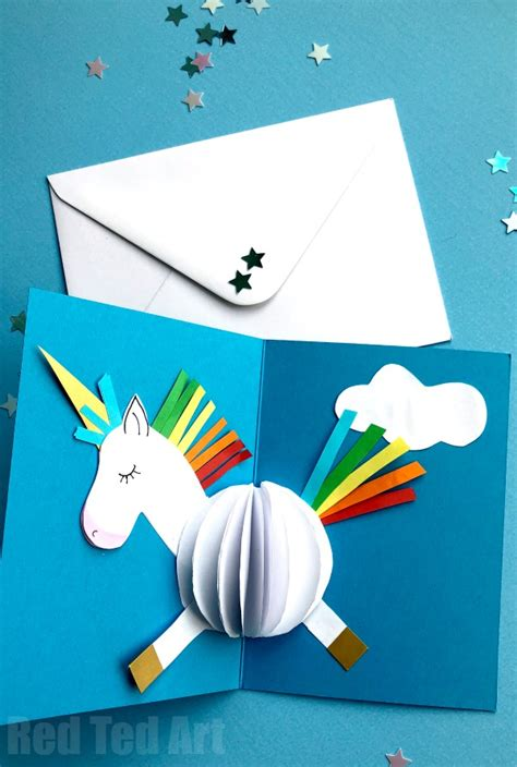 city pop up card template 3d unicorn card diy ted s