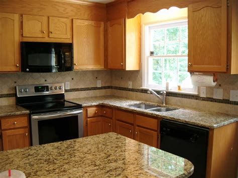 Honey Oak Cabinets With Granite Roselawnlutheran Kitchen Countertops Granite