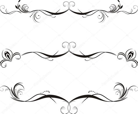 cenefas vectorizadas tres bordes decorativos florales vector de stock