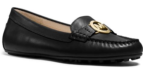 michael kors loafer lyst michael kors molly leather loafer in black