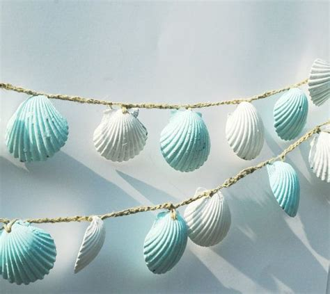 seashell garland wedding decorations blue and