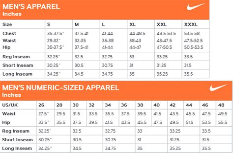nike shoes size chart nike sizing