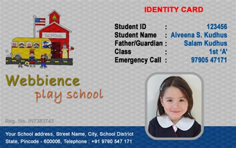 school id card design template id cards student id card free template