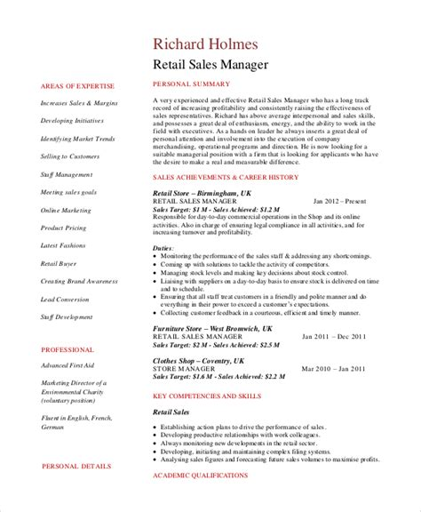 Resume Sles For Retail by Sales Manager Resume Template 7 Free Word Pdf Documents Free Premium Templates