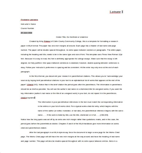 11 Sle Mla Outline Templates Sle Templates Mla Citation Format Template