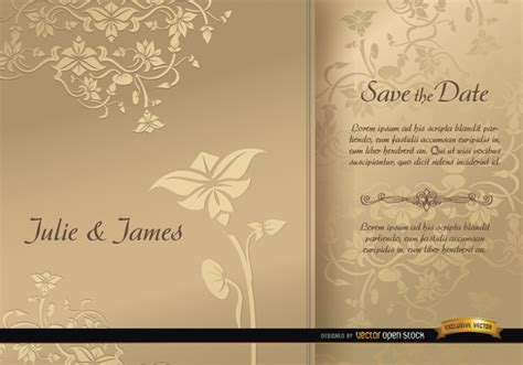 Wedding Floral Brochure by Save The Date Floral Brochures Vector Free