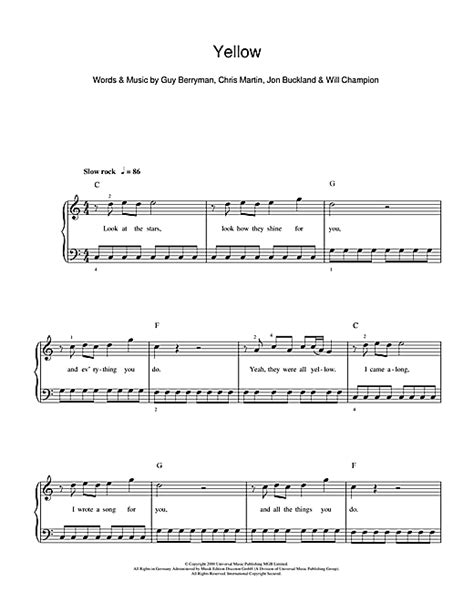 strumming pattern to yellow by coldplay coldplay yellow sheet music