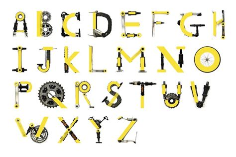 typography letter parts typographic project uses bicycle parts to create an