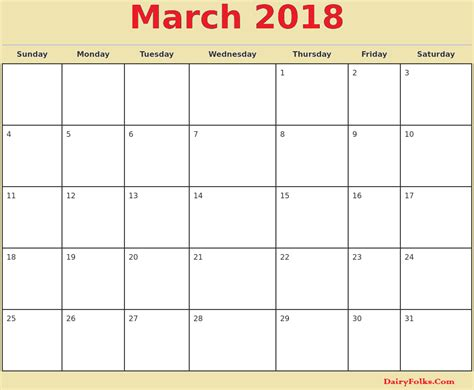 printable calendar 2018 monthly march 2018 monthly calendar printable