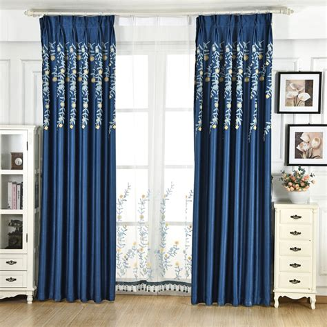 sheer and blackout curtains modern blue simple cheap sheer blackout cotton embroidery