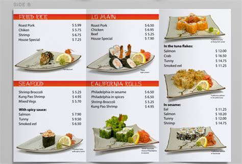 3 fold menu template tri fold sushi menu template on behance