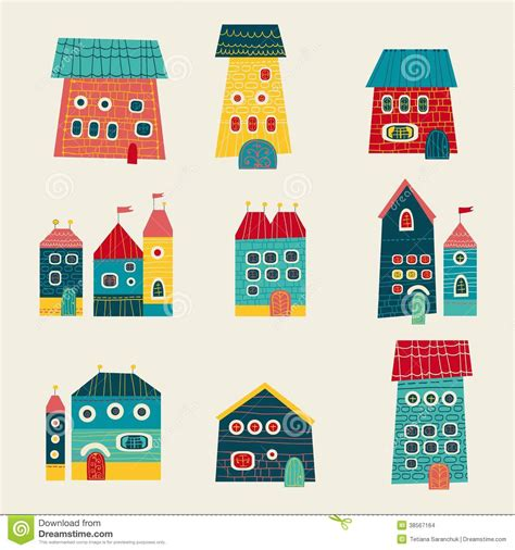Retro Homes by Set Of Cute Houses Hand Drawn Cartoon Kids Style Stock