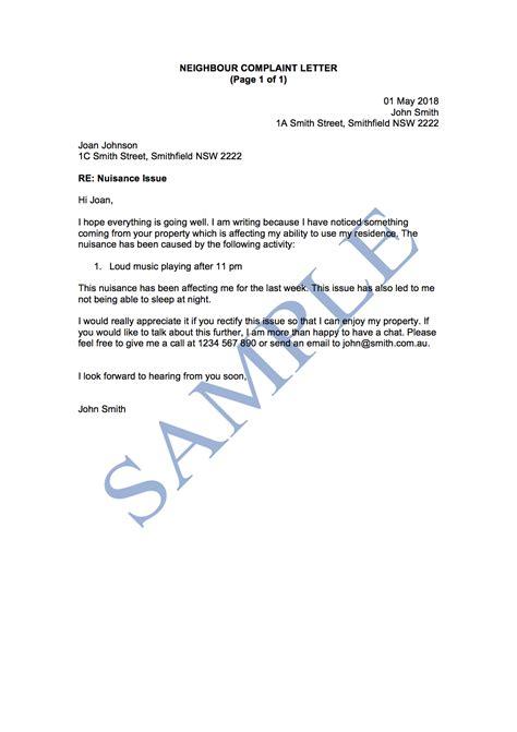 neighbour complaint letter template sample lawpath