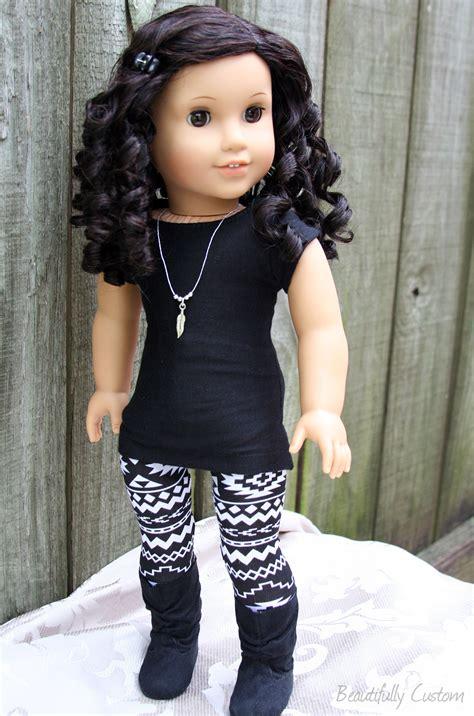 black julie doll custom american doll brown and curly