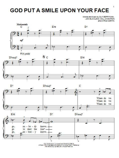 coldplay god put a smile upon your face lyrics coldplay god put a smile upon your face sheet music