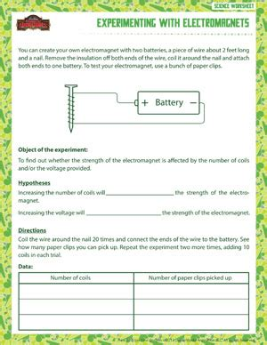 Science Worksheets For 6th Grade by Experimenting With Electromagnets Free Sixth Grade