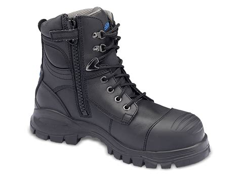 s or s black leather ankle high work and safety