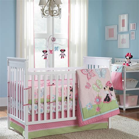 minnie mouse crib bedding set minnie mouse butterfly charm 4 piece crib bedding set