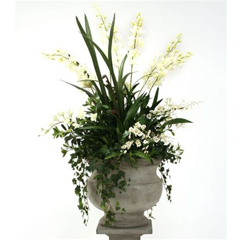 steins artificial trees silk white orchid and agapanthus mix with and fern in large corina urn free shipping
