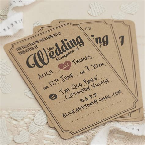 reception card template brown paper wedding invitation wording april 2015