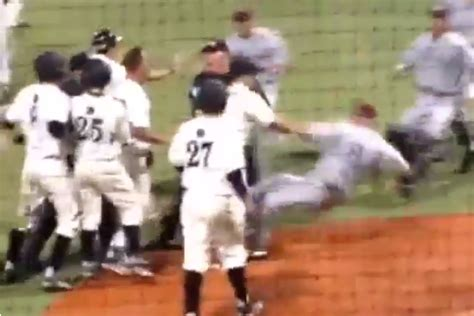 bench clearing brawl baseball central arkansas and arkansas little rock engage in wild