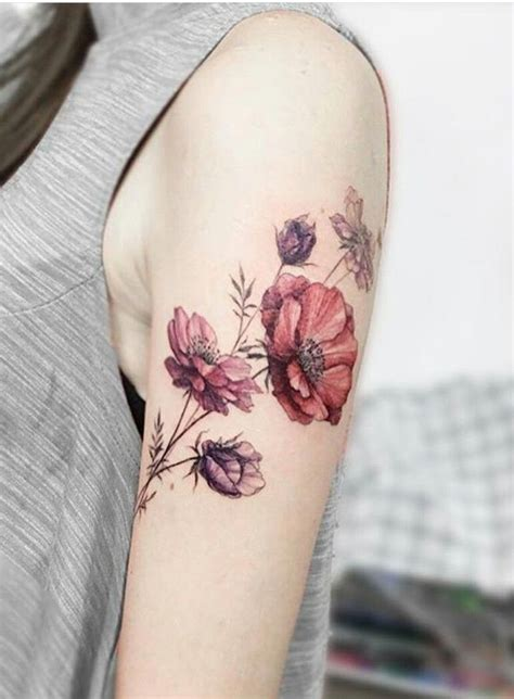 arm flower tattoos stunning poppy floral design arm placement vintage