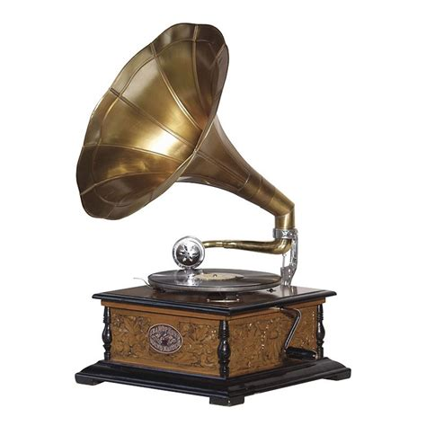 wind up gramophone with horn