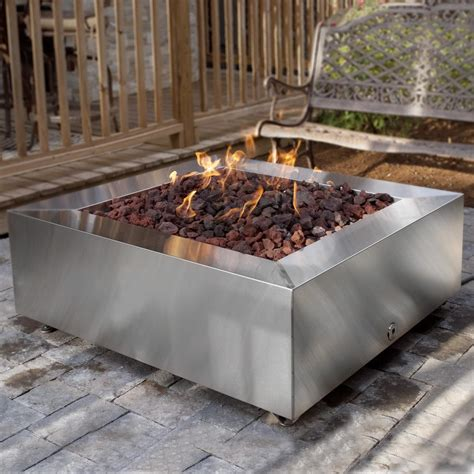 Alpine Flame 42 Inch Stainless Steel Square Fire Pit Backyard Propane Pit