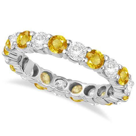 eternity yellow sapphire ring band 14k white