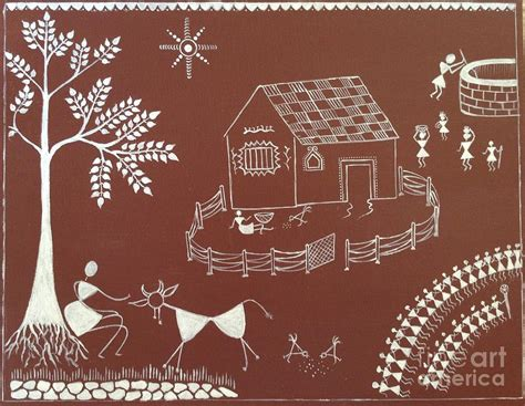 Long House Plans by Warli Painting Painting By Prachart
